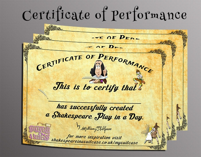 Certificate of Performance Mockup
